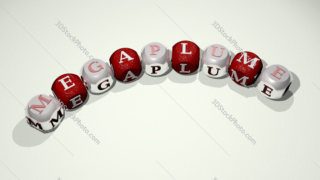 megaplume text of dice letters with curvature