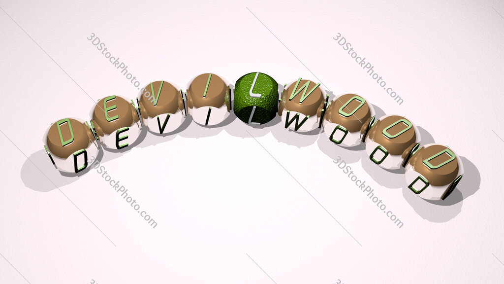 devilwood text of dice letters with curvature