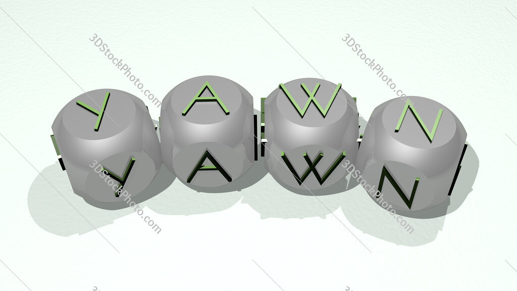 yawn text of dice letters with curvature