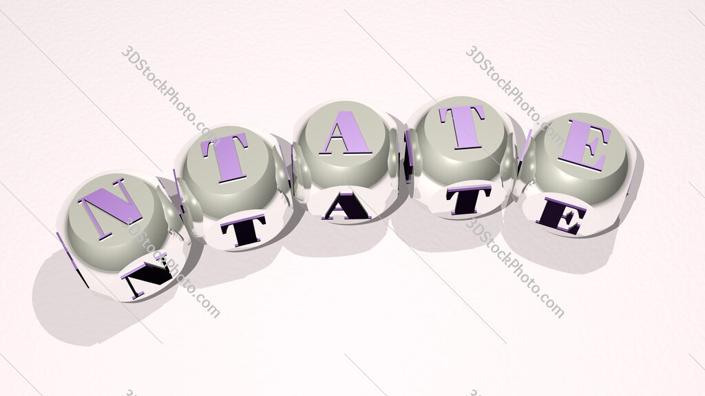Ntate text of dice letters with curvature