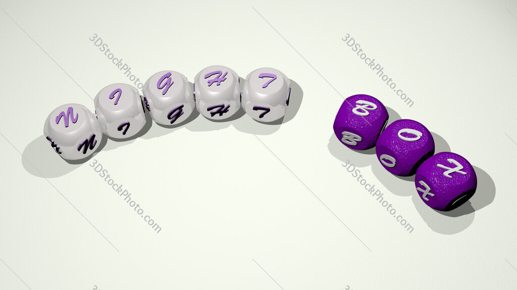 night box text of dice letters with curvature