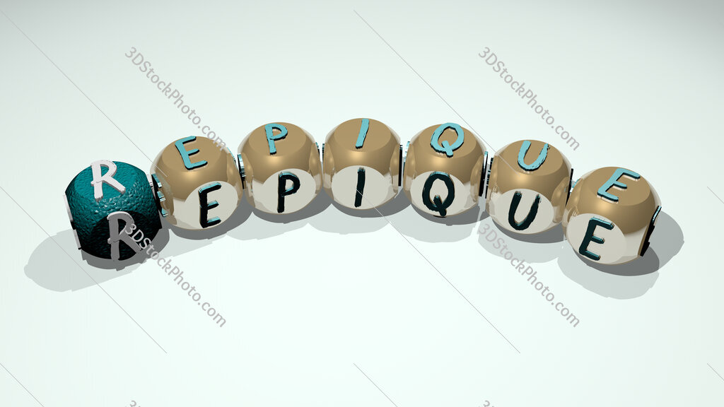 repique text of dice letters with curvature