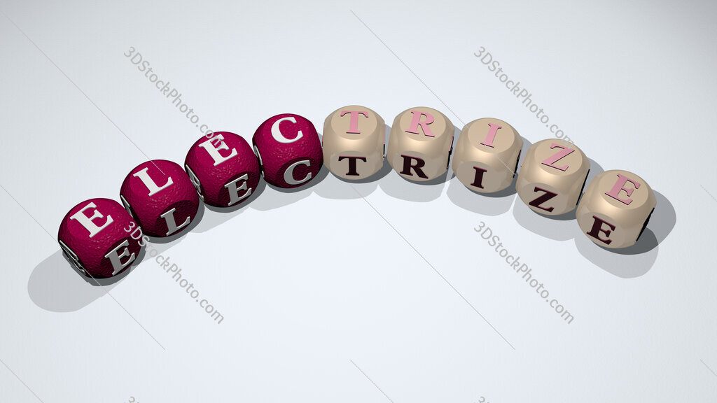 electrize text of dice letters with curvature