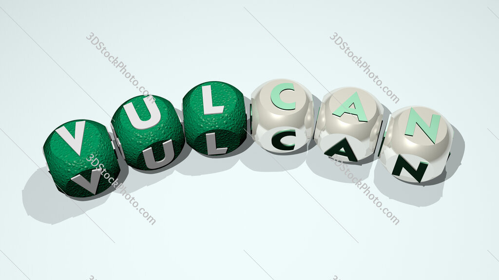 vulcan text of dice letters with curvature
