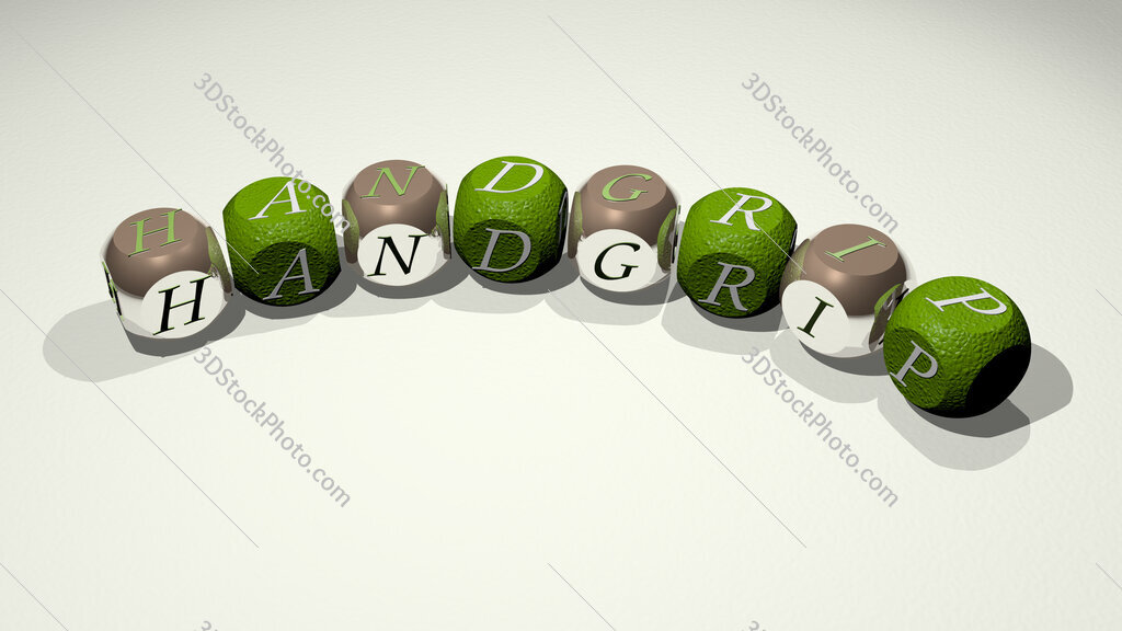 handgrip text of dice letters with curvature