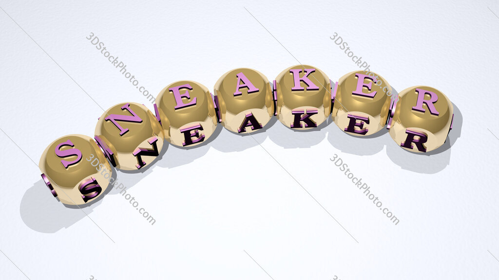 sneaker text of dice letters with curvature