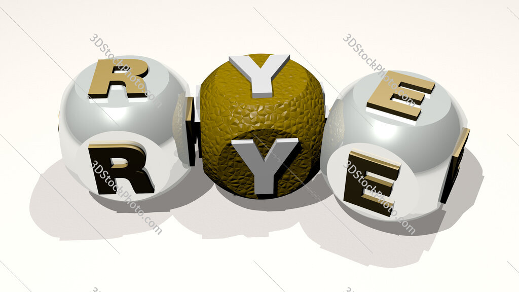 rye text of dice letters with curvature