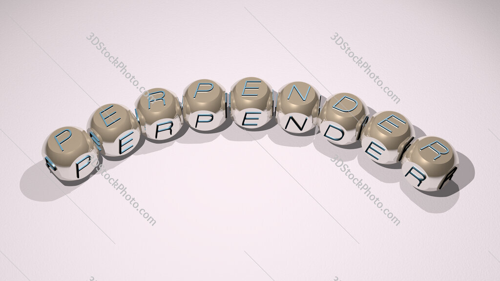 perpender text of dice letters with curvature