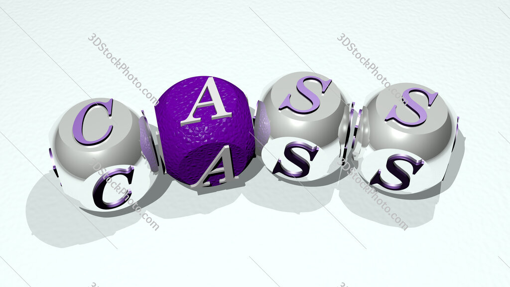 cass text of dice letters with curvature