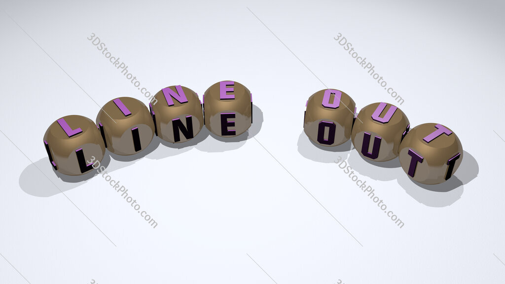 line out text of dice letters with curvature