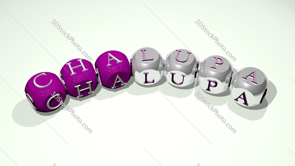 chalupa text of dice letters with curvature