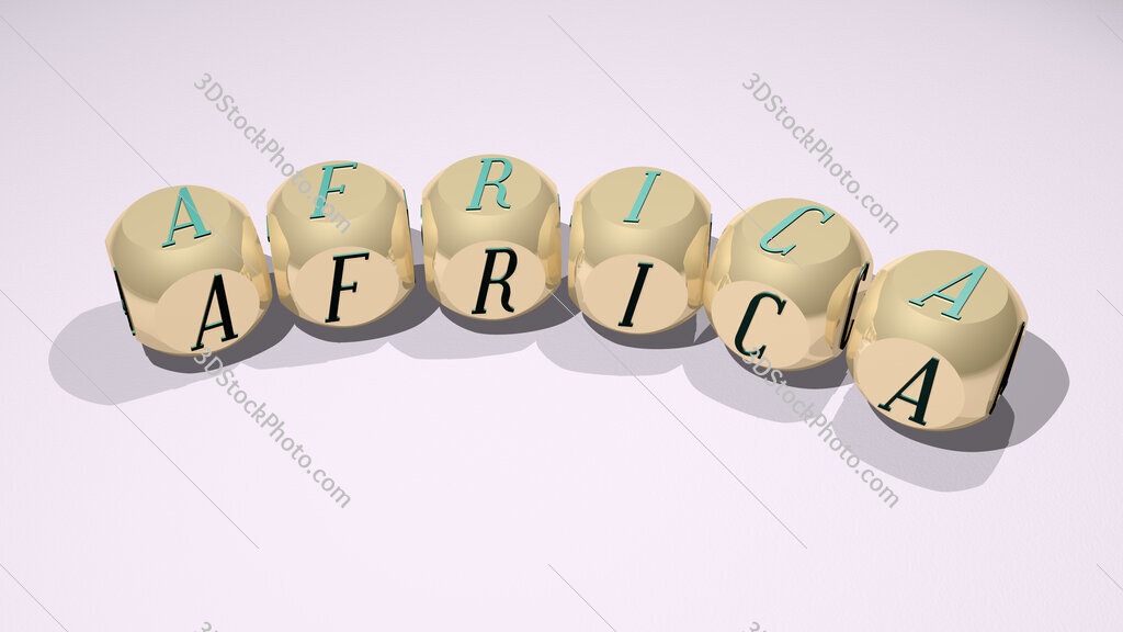 africa text of dice letters with curvature