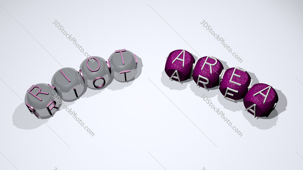 riot area text of dice letters with curvature
