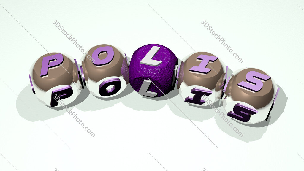 polis text of dice letters with curvature