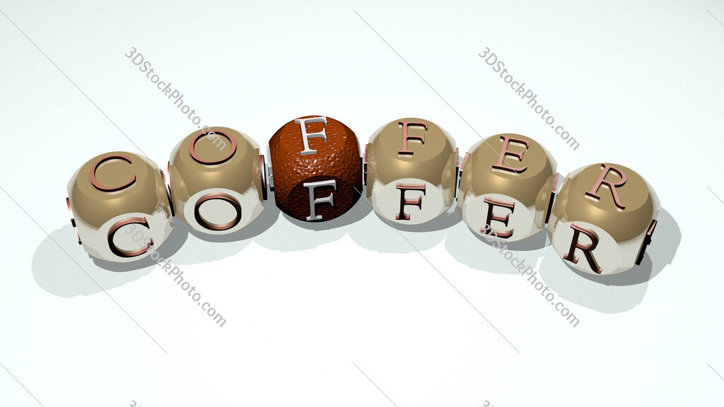 coffer text of dice letters with curvature