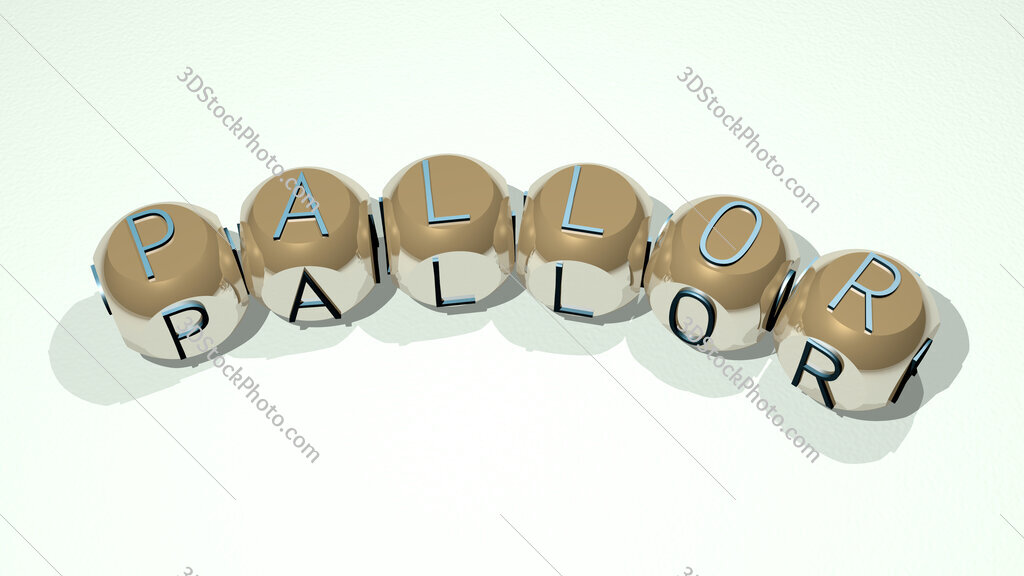 pallor text of dice letters with curvature