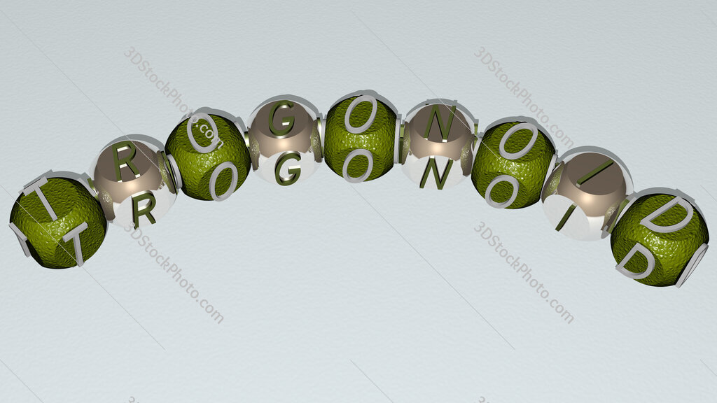 trogonoid curved text of cubic dice letters
