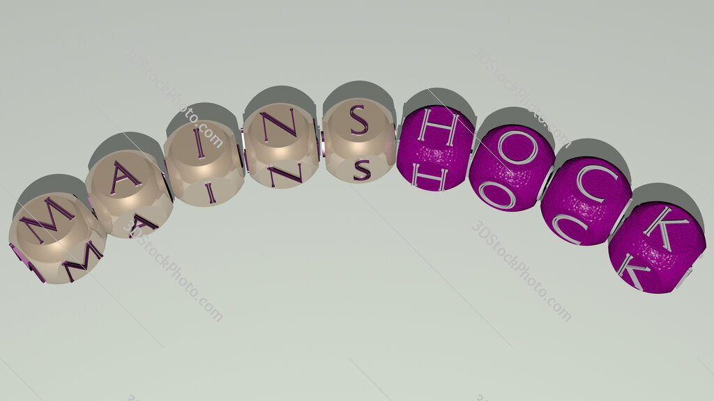 mainshock curved text of cubic dice letters