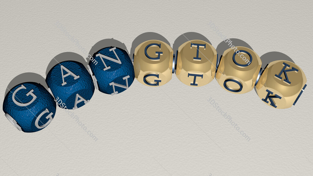 Gangtok curved text of cubic dice letters