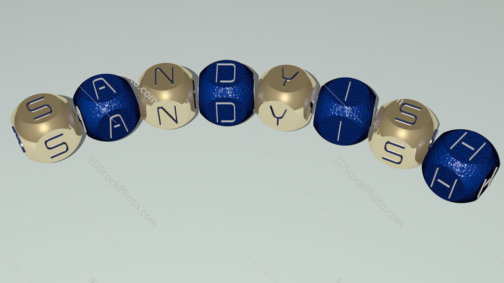 sandyish curved text of cubic dice letters