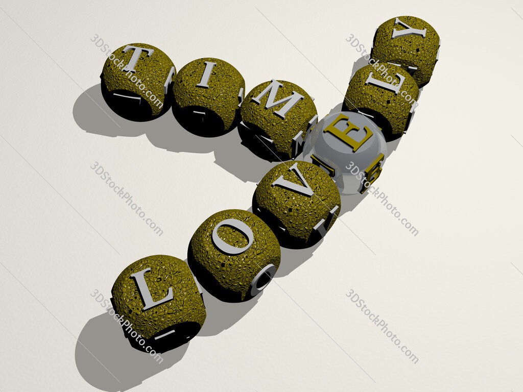 lovely time crossword of curved text made of individual letters