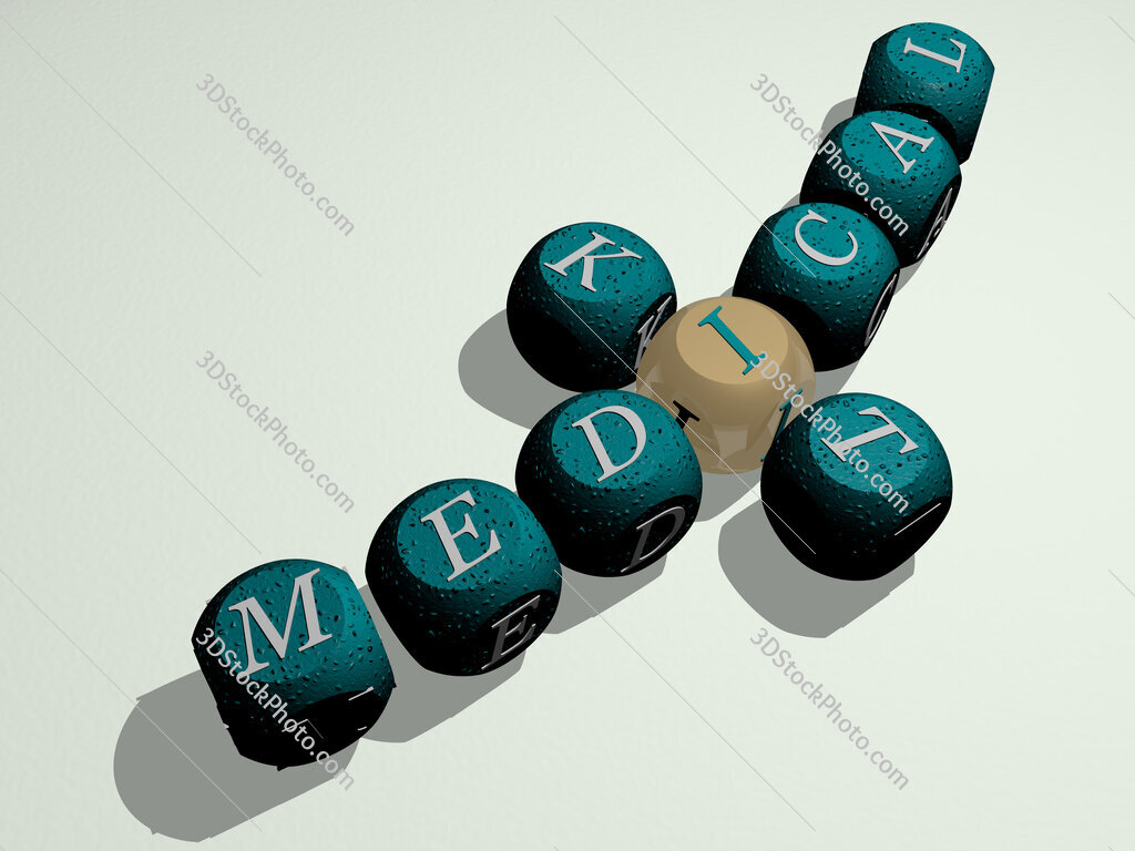 medical kit crossword of curved text made of individual letters
