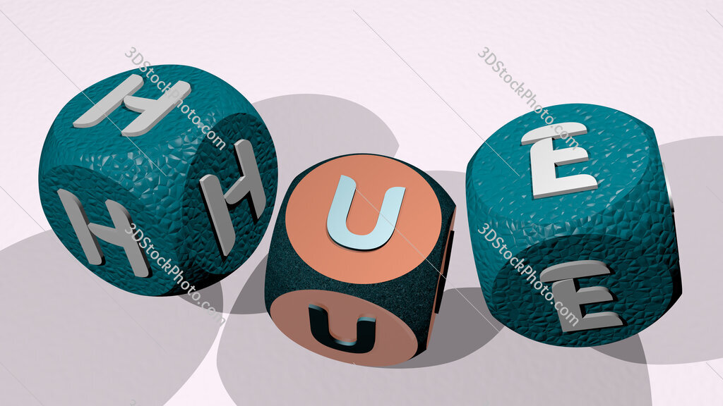 Hue text by dancing dice letters