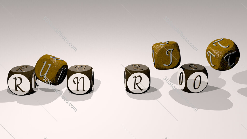 run riot text by dancing dice letters