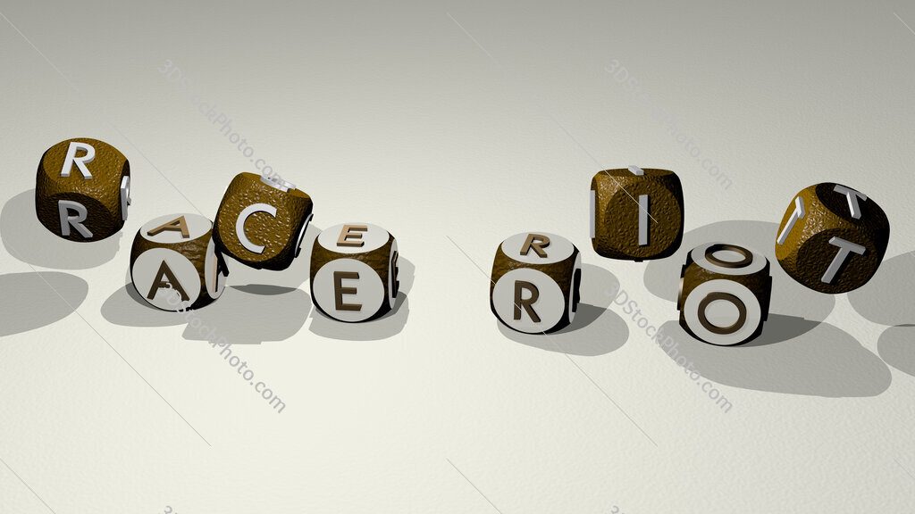 race riot text by dancing dice letters