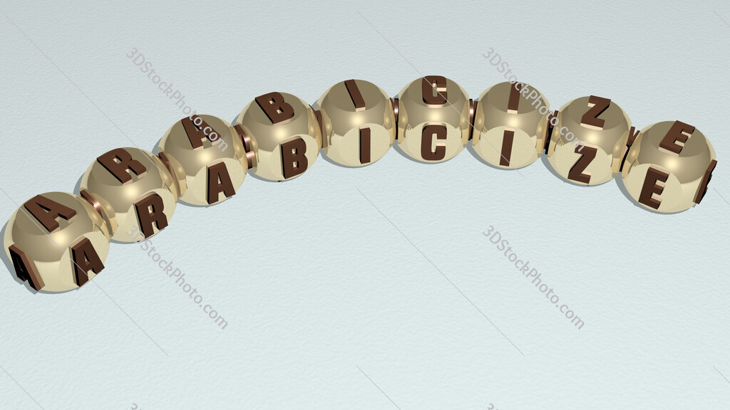 Arabicize curved text of cubic dice letters
