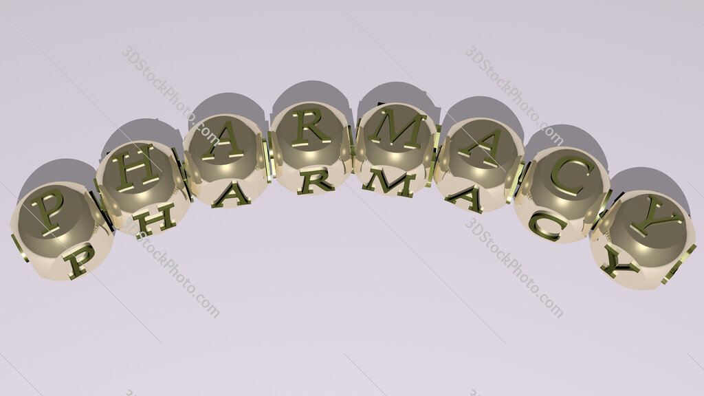 pharmacy curved text of cubic dice letters