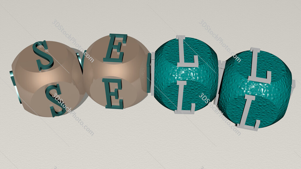 sell curved text of cubic dice letters