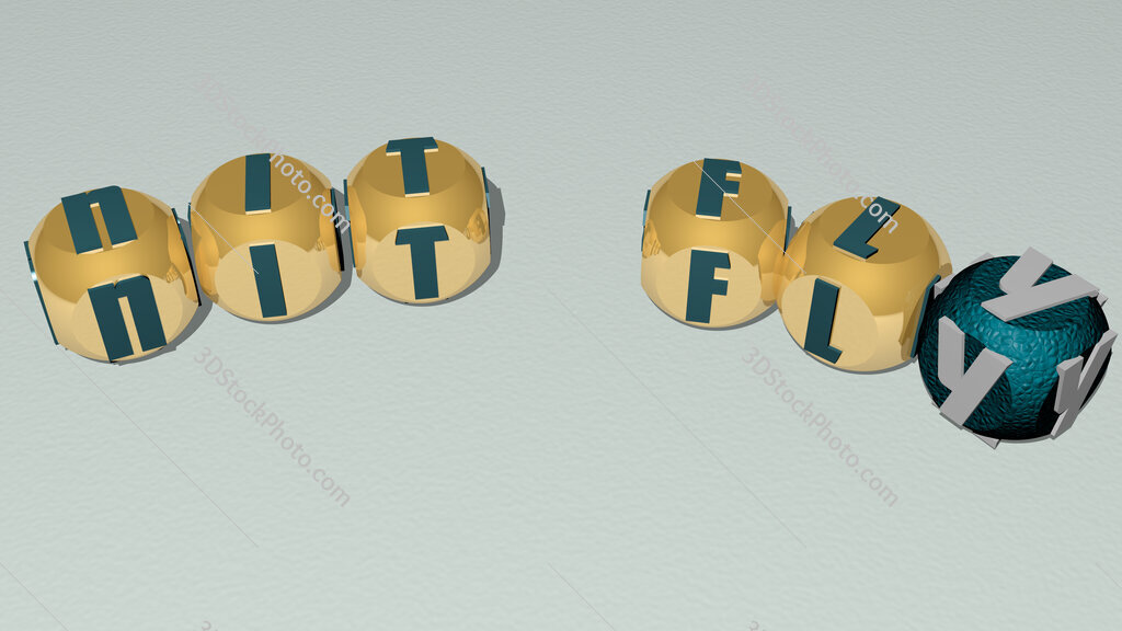 nit fly curved text of cubic dice letters