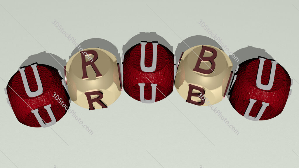 urubu curved text of cubic dice letters