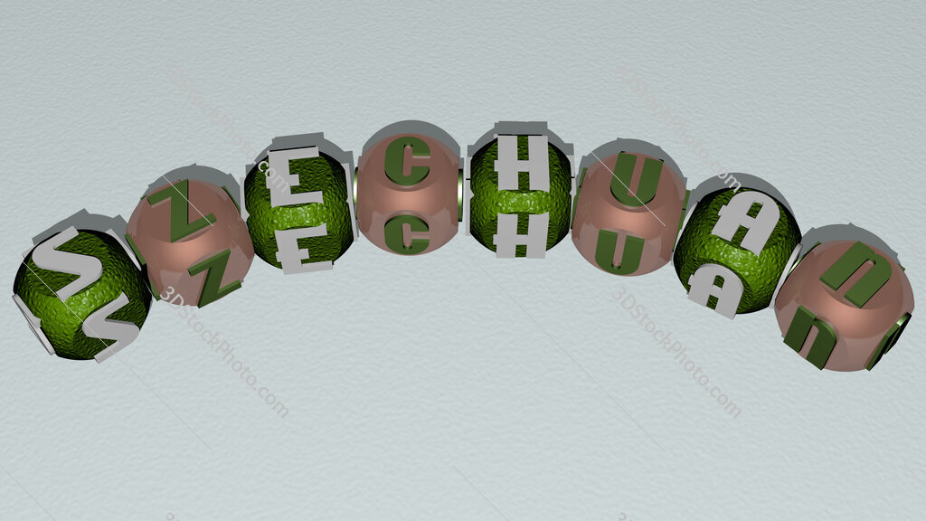 Szechuan curved text of cubic dice letters