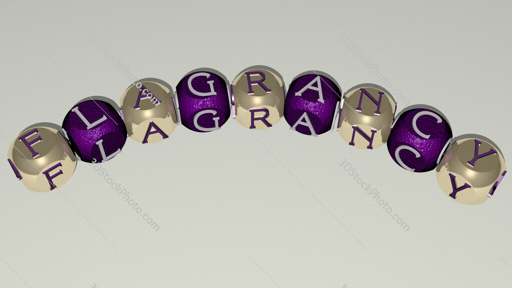 flagrancy curved text of cubic dice letters