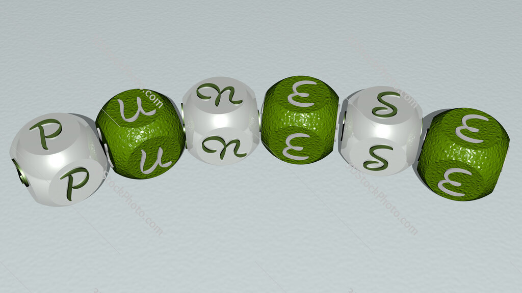 punese curved text of cubic dice letters