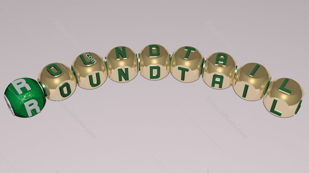 roundtail curved text of cubic dice letters