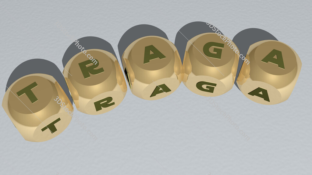 traga curved text of cubic dice letters