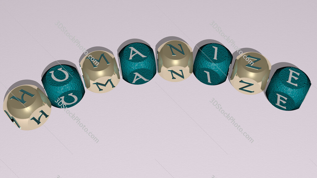 humanize curved text of cubic dice letters