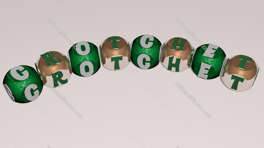 crotchet curved text of cubic dice letters