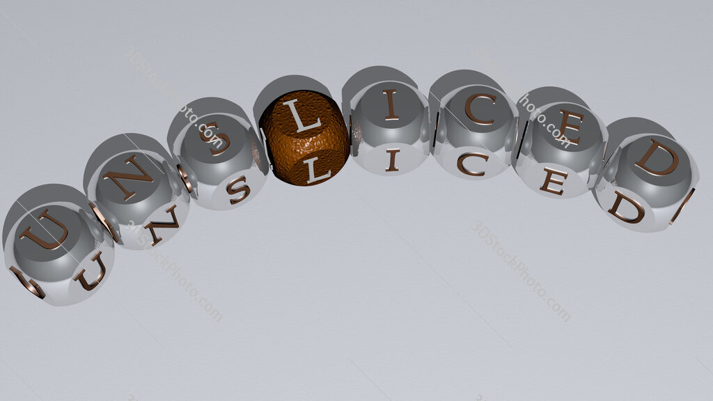unsliced curved text of cubic dice letters