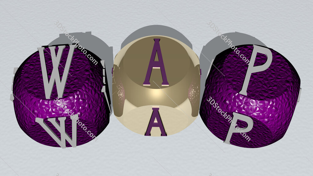wap curved text of cubic dice letters