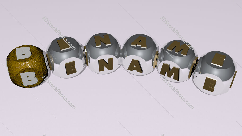 bename curved text of cubic dice letters