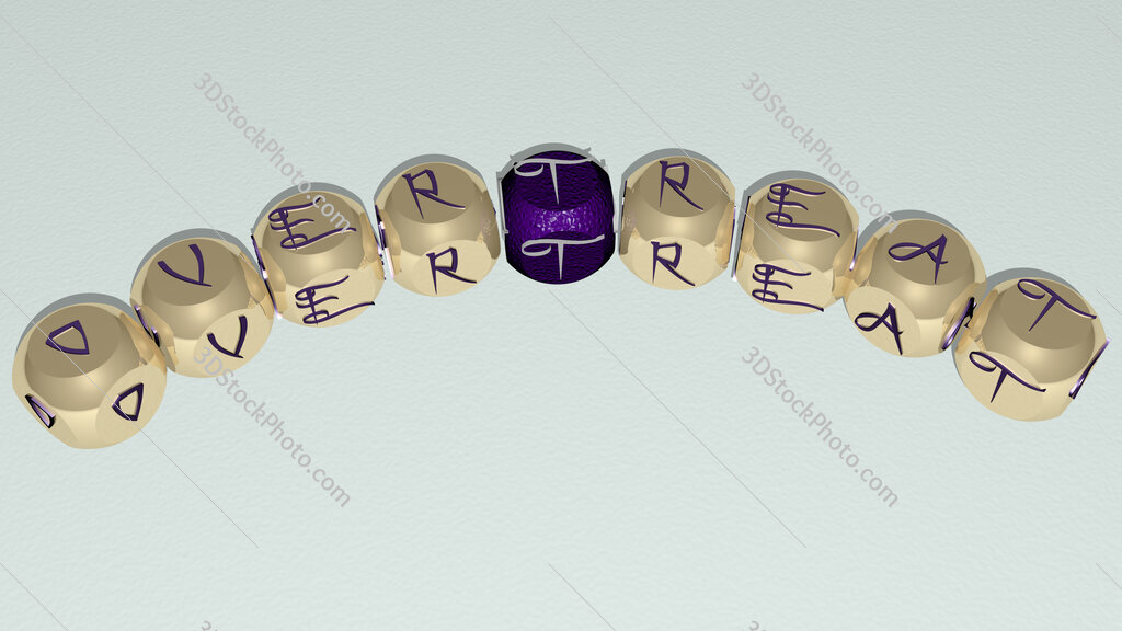 overtreat curved text of cubic dice letters