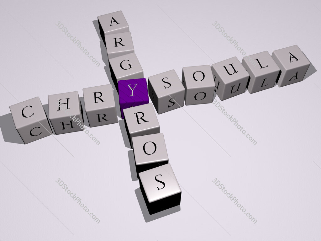 Chrysoula Argyros crossword by cubic dice letters