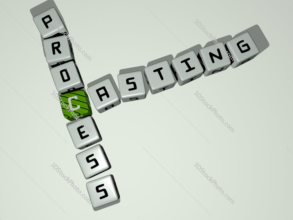 Casting process crossword by cubic dice letters