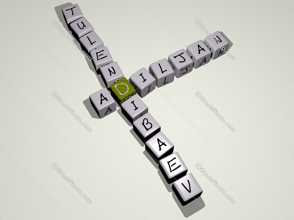 Adiljan Tulendibaev crossword by cubic dice letters
