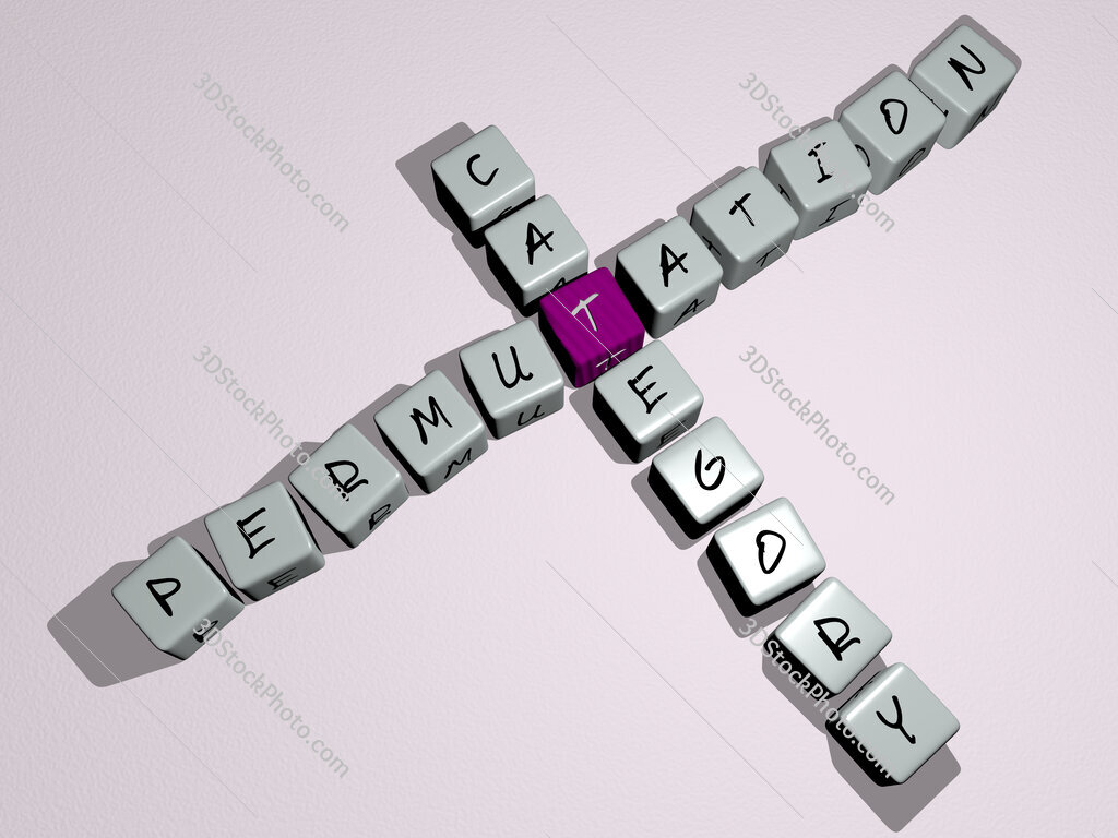 Permutation category crossword by cubic dice letters