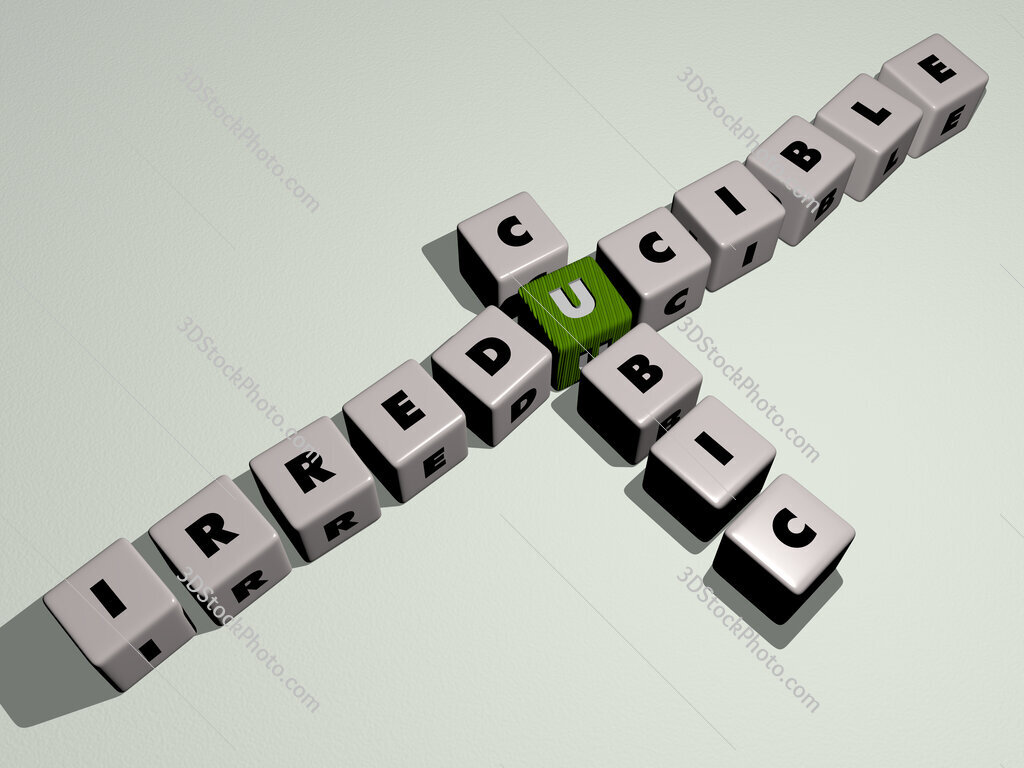 Irreducible cubic crossword by cubic dice letters